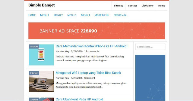 Simple Banget - Template Blog Simple Sederhana Gratis