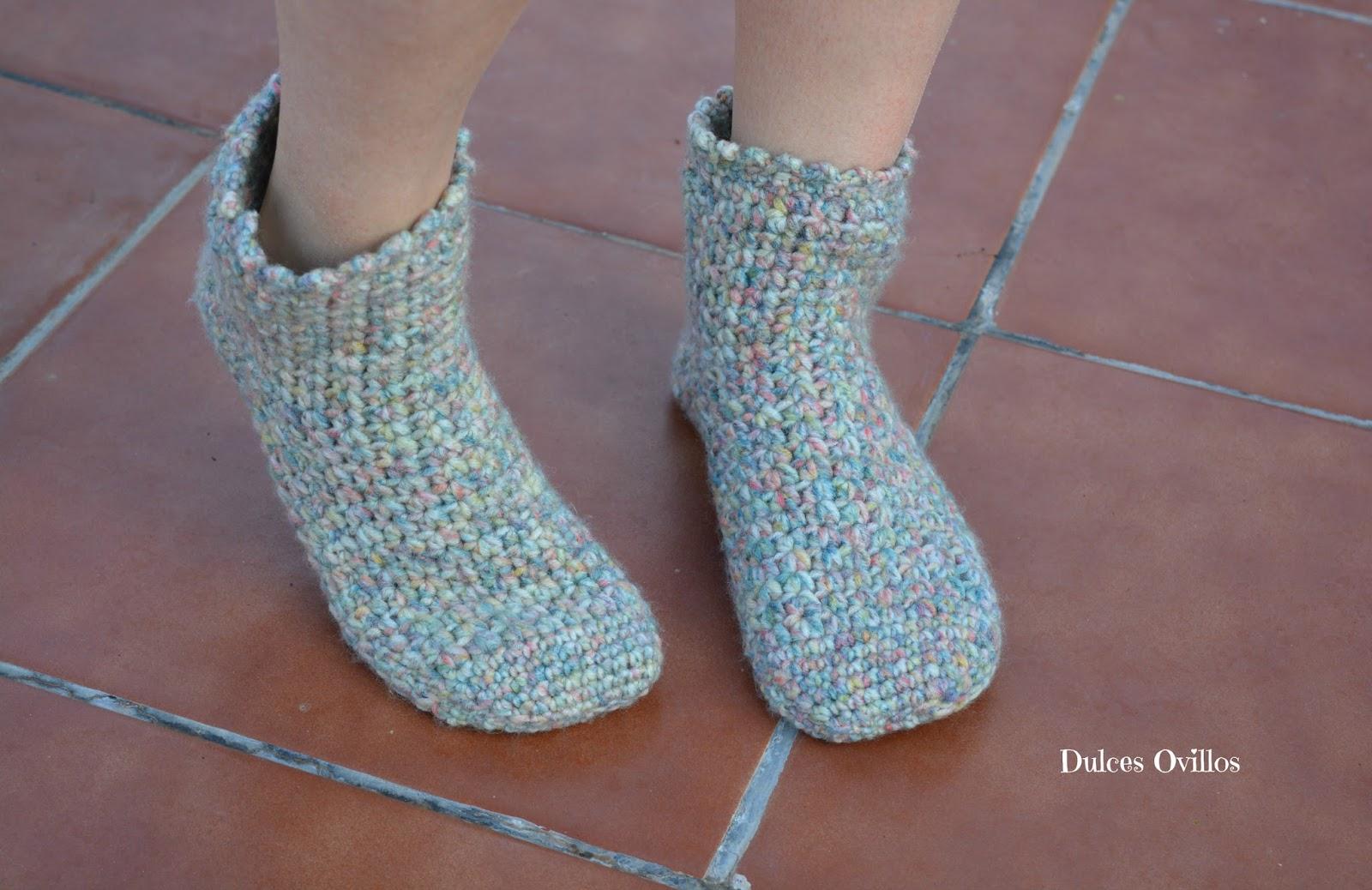 Dulces ovillos calcetines a crochet con lanas rub - Como hacer talon de calcetines de lana ...