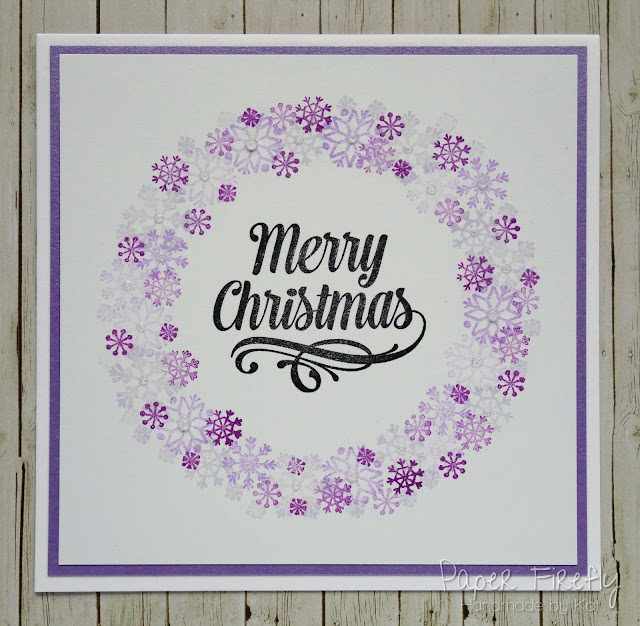 CAS Christmas card with snowflake wreath using LOTV stamps