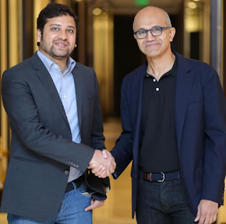 Binny Bansal, Group CEO and Co-Founder, Flipkart and Satya Nadella, CEO, Microsoft