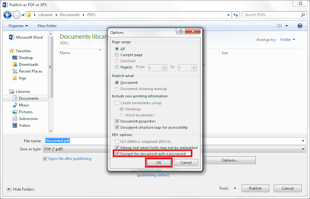 "Select ""Encrypt the document with a password"" option"