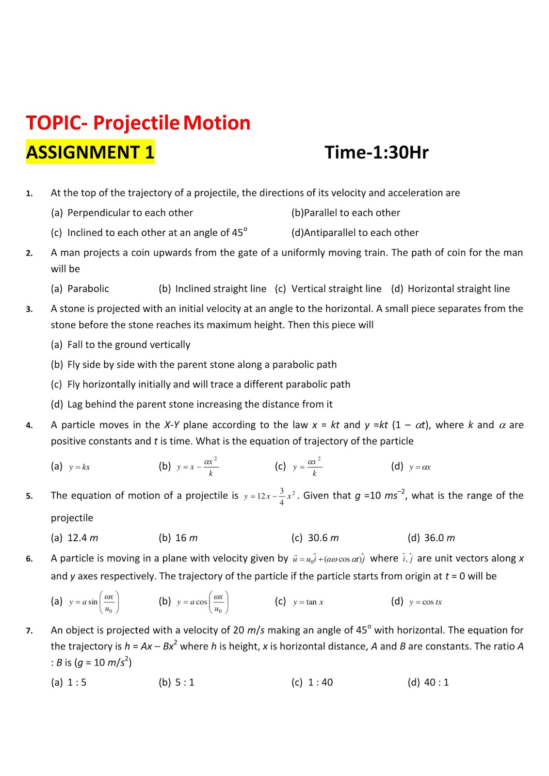 projectile motion assignment level easy