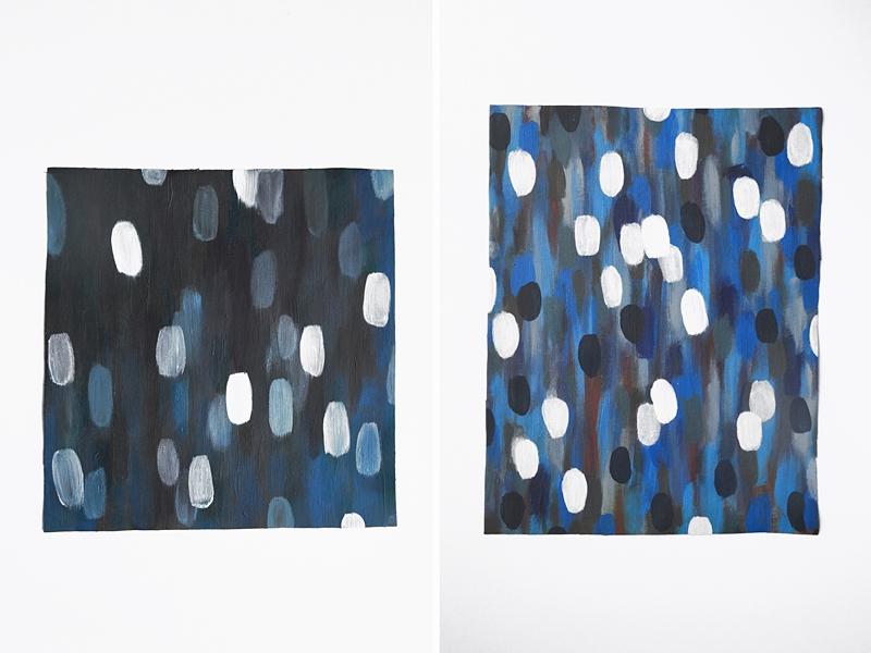 Acrylmalerei abstrakt weiß blau Leinwand Kunst als Dekoration