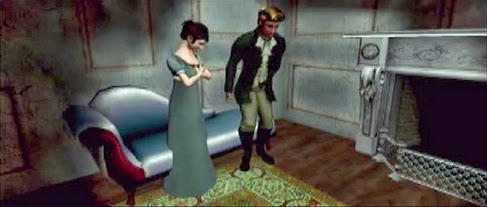 Screen capture: Female and male avatars in scene from Jane Austen online roleplaying game