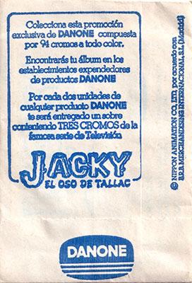 Sobre cromos Jacky el oso de Tallac Danone