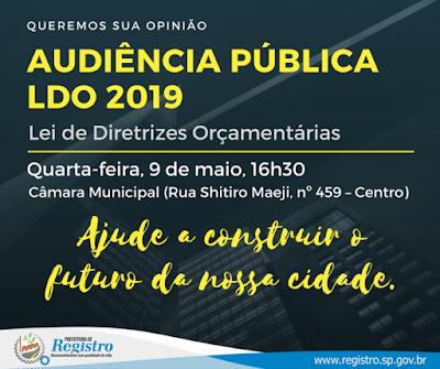 Prefeitura de Registro-SP convida população para discutir a Lei de Diretrizes Orçamentárias