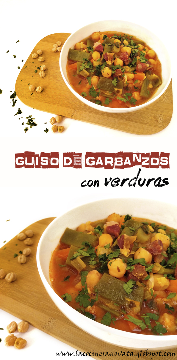 Guiso de garbanzos con verduras la cocinera novata receta cocina vegetariano vegano bajo en calorias pobres economica barata
