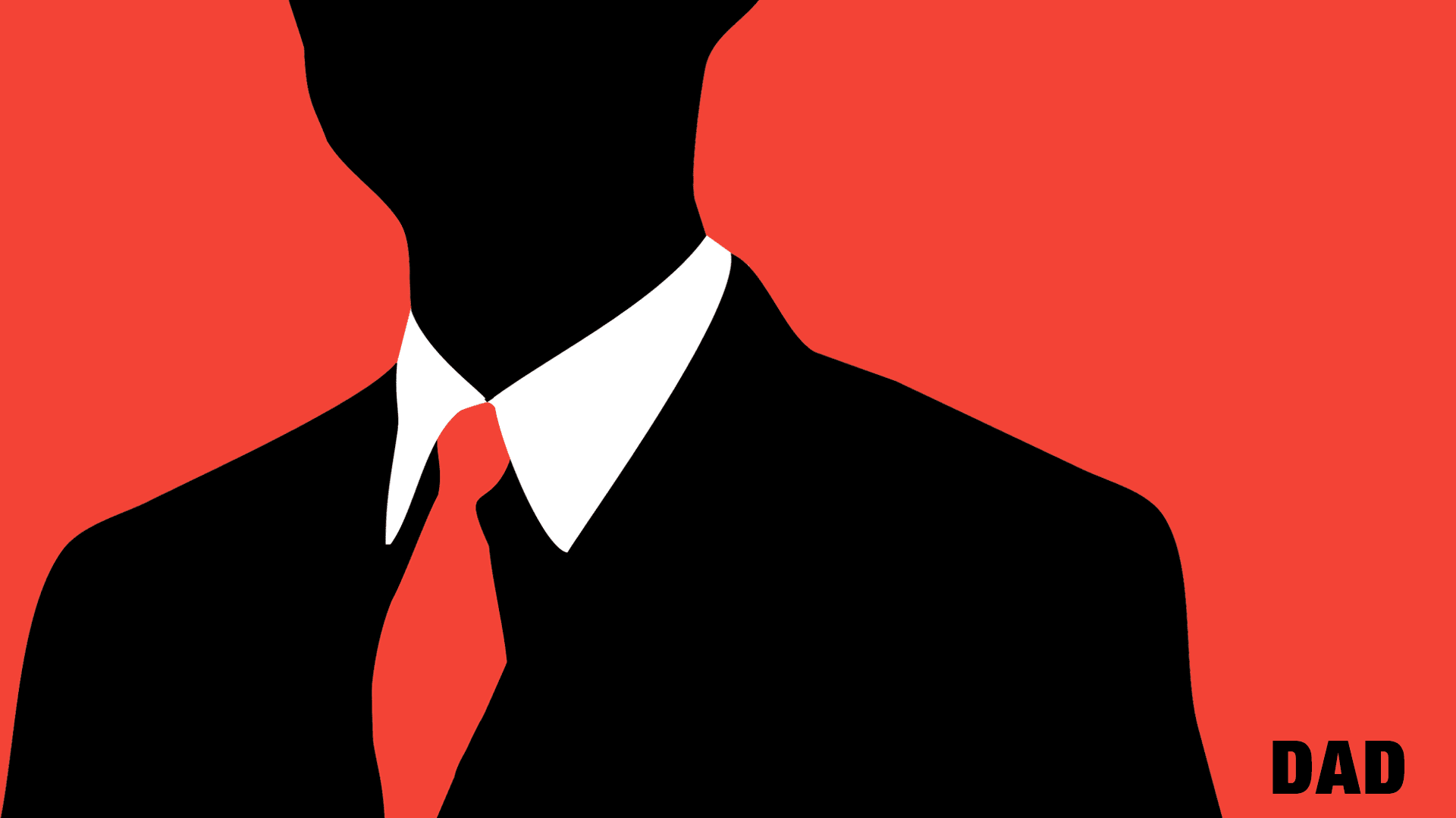 A businessman over a red background.