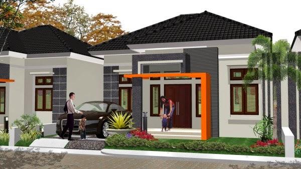 Contoh rumah minimalis 1 lantai dengan taman depan rumah