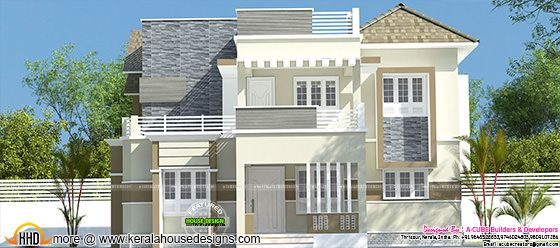 2106 sq-ft mix roof modern home