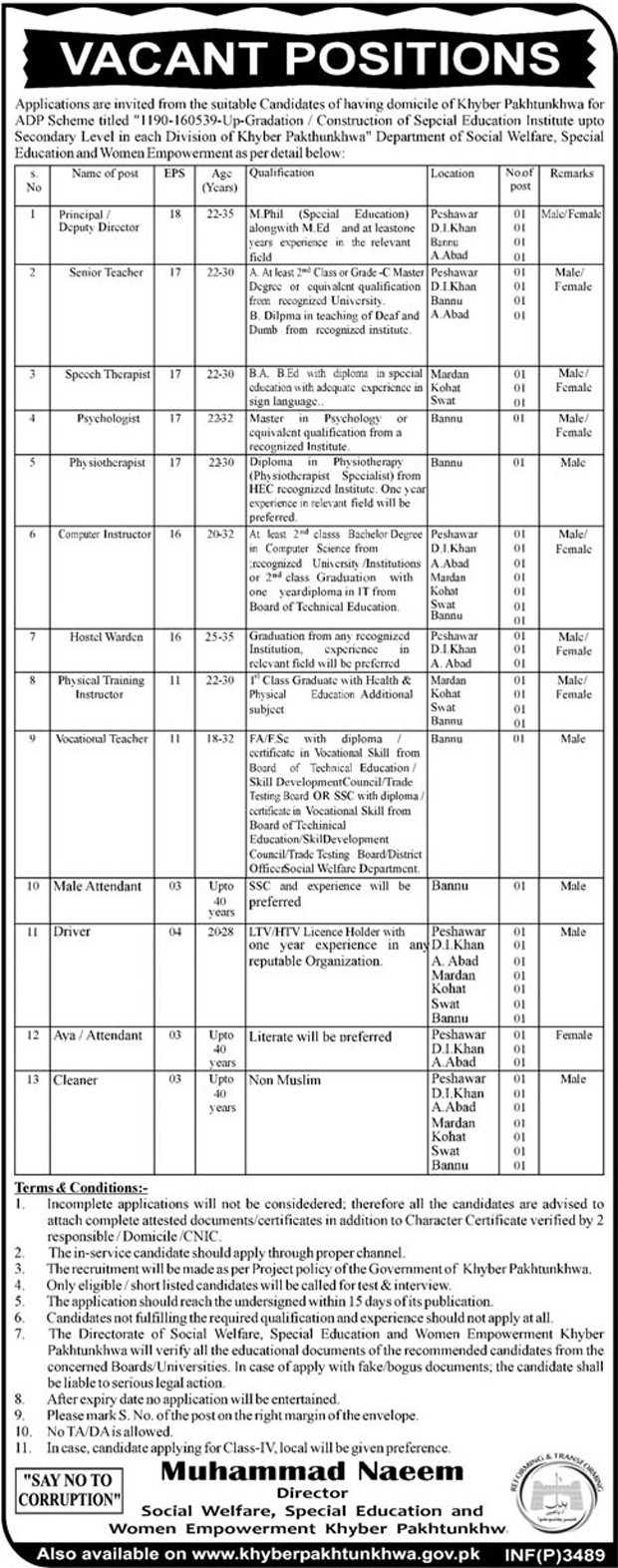 Social welfare, Special Education & Women Empowerment, KPK Jobs 28 July 2017