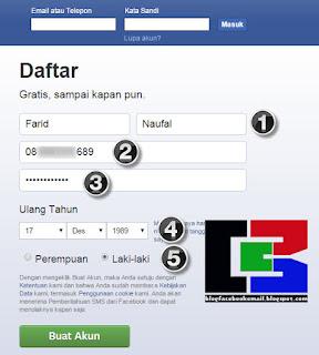 cara daftar akun baru facebook dengan nomer Hp