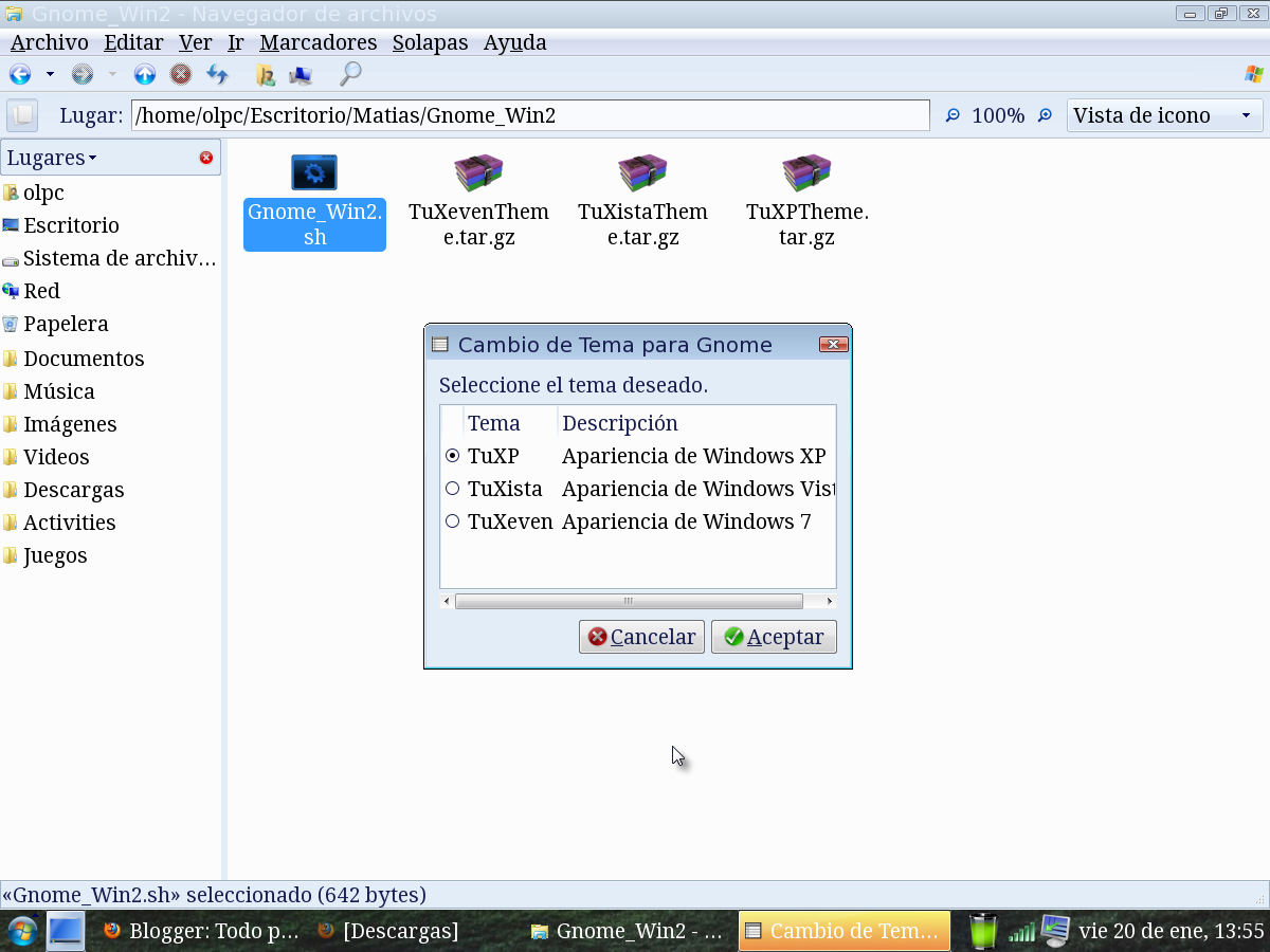 tema windows 7 para gnome xo 1.5
