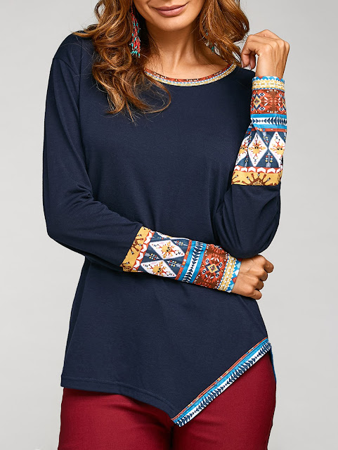 Asymmetric Tribal Print Tee