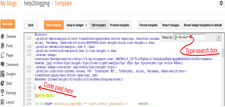 Adding CSS code in blogger template: