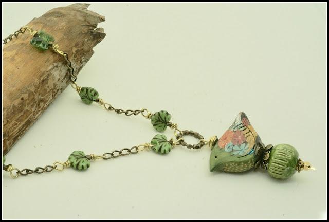 Green Bird Necklace by BayMoonDesign