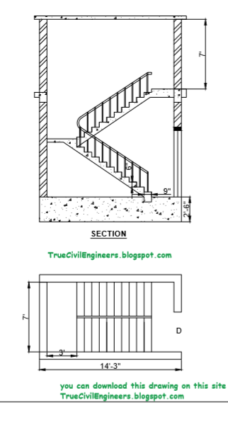 Staircase Dog Legged Design And Original Line Plan Autocad File