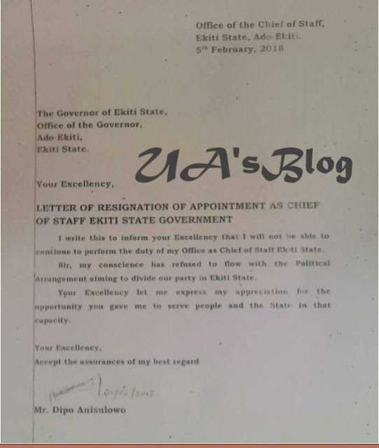 Governor Fayose's Chief Of Staff Says Good Bye