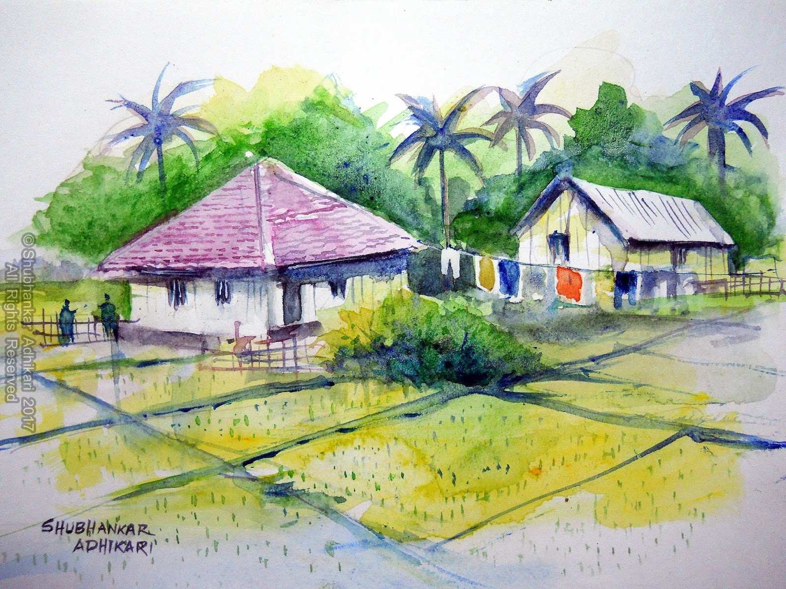 Indian Village Scenes Are Always My Favourite Subject Tp Paint Here In This Work I Have Painted A Scene Of Late Afternoon The Huts