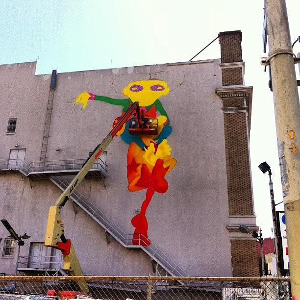 Work In Progress By Brazilian Street Artists Os Gemeos At Warfield Theatre In San Francisco. 3