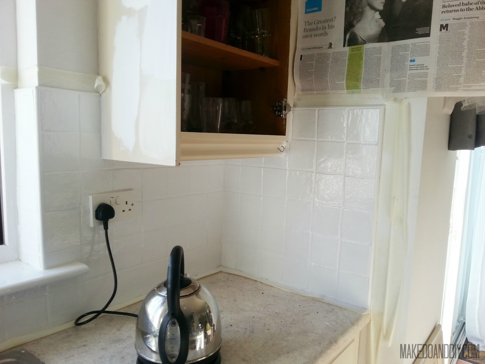 Painted Tile Backsplash Cover Those Ugly Tiles! Make Do And DIY