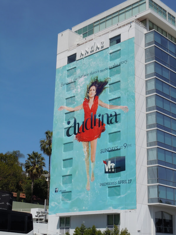 Audrina under water TV billboard