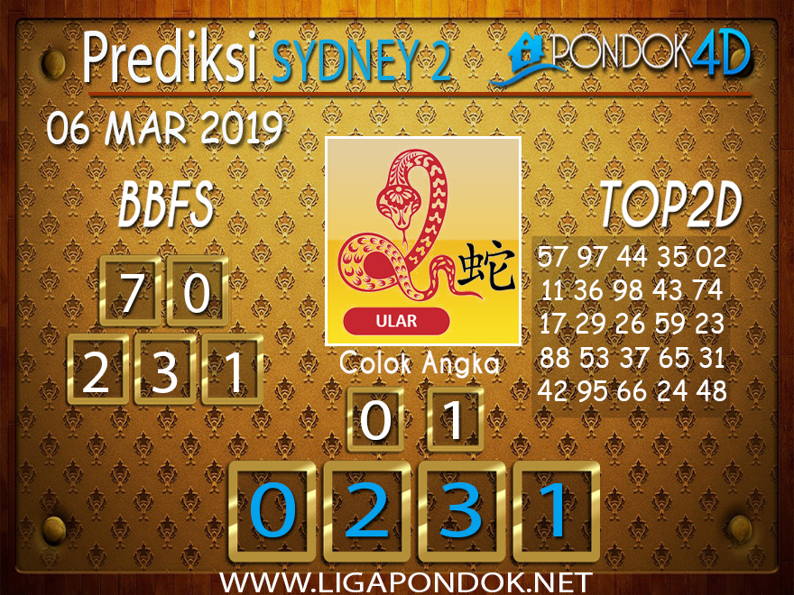 Prediksi Togel SYDNEY2 PONDOK4D 06 MARET 2019