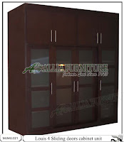 Lemari minimalis tipe sliding cabinet unit Louis