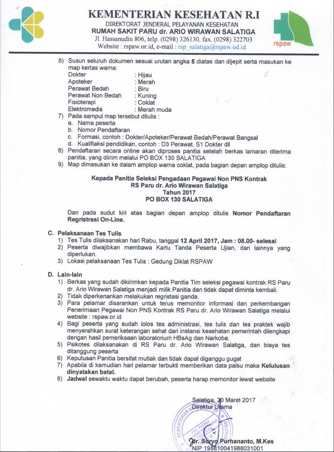 Lowongan Kerja Non PNS RS Paru dr.Ario Wirawan Salatiga