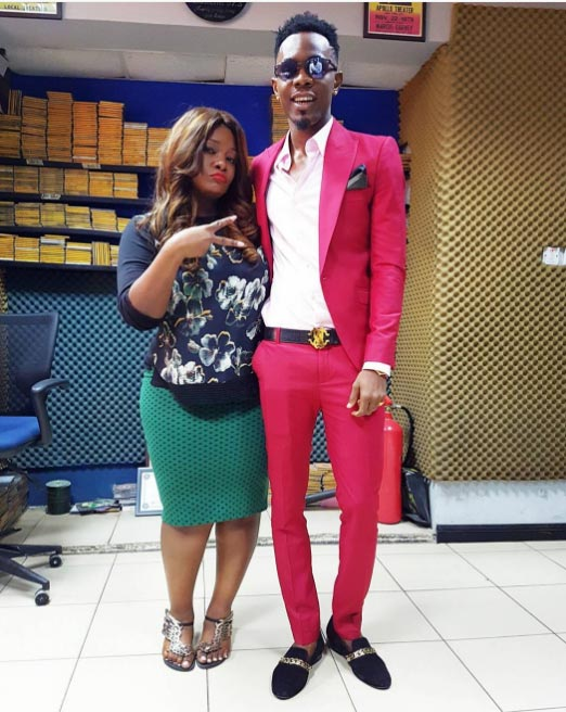 OAP Toolz poses with Patoranking at Beat FM studio