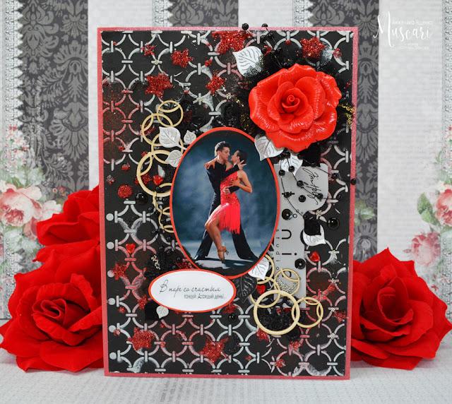 мускари, открытка, красный, лепка