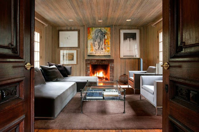 modern rustic home with wood paneling