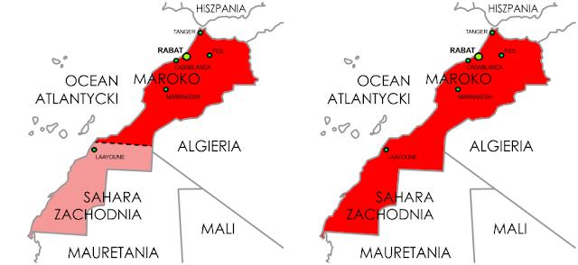 Dwie wersje mapy Maroka