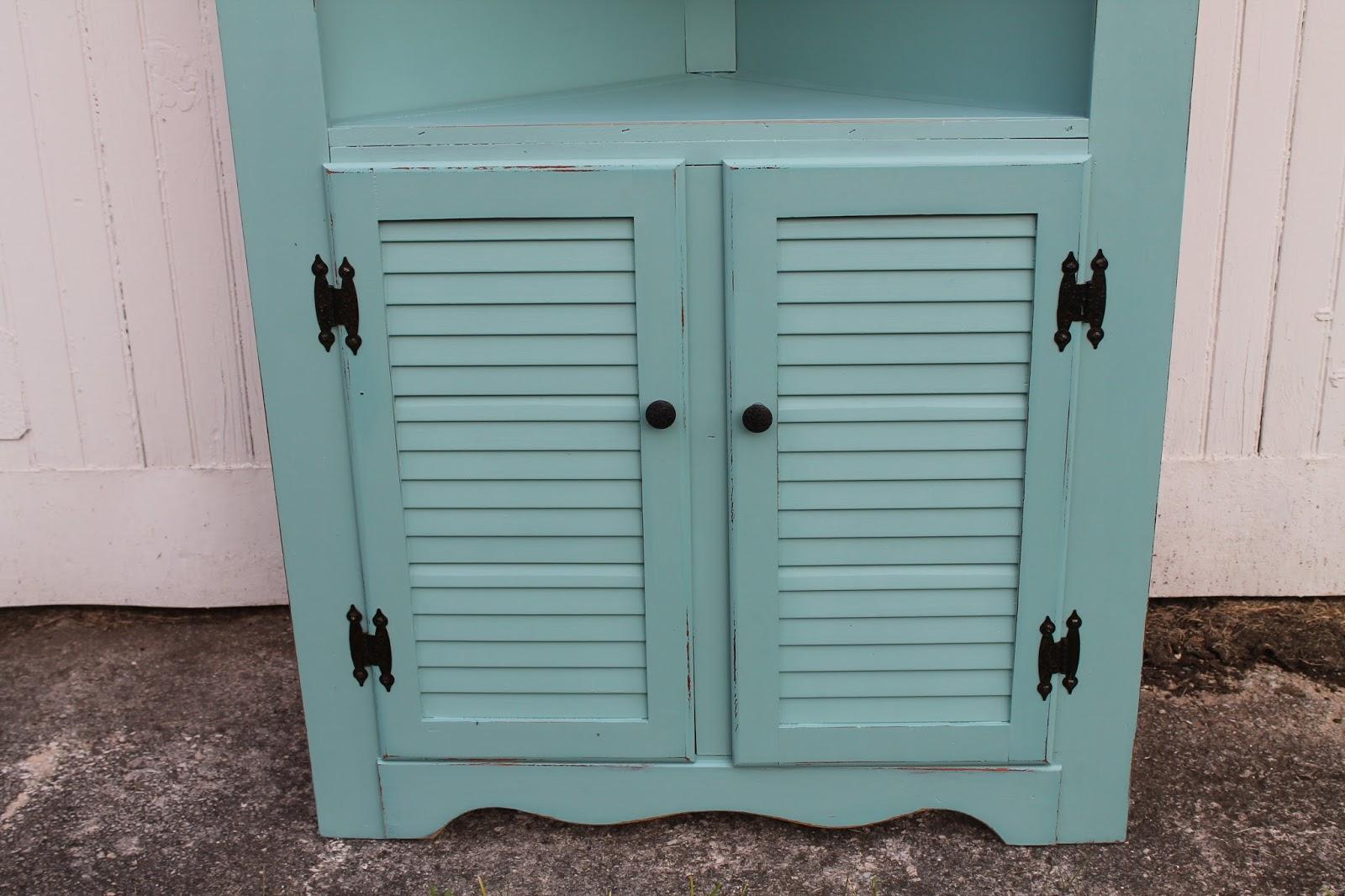 Medicine Cabinet White Louvered Door: Elizabeth & Co.: Pretty Aqua Corner Cabinet