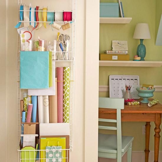 freckles chick Corralling closet clutter overthedoor giftwrap storage