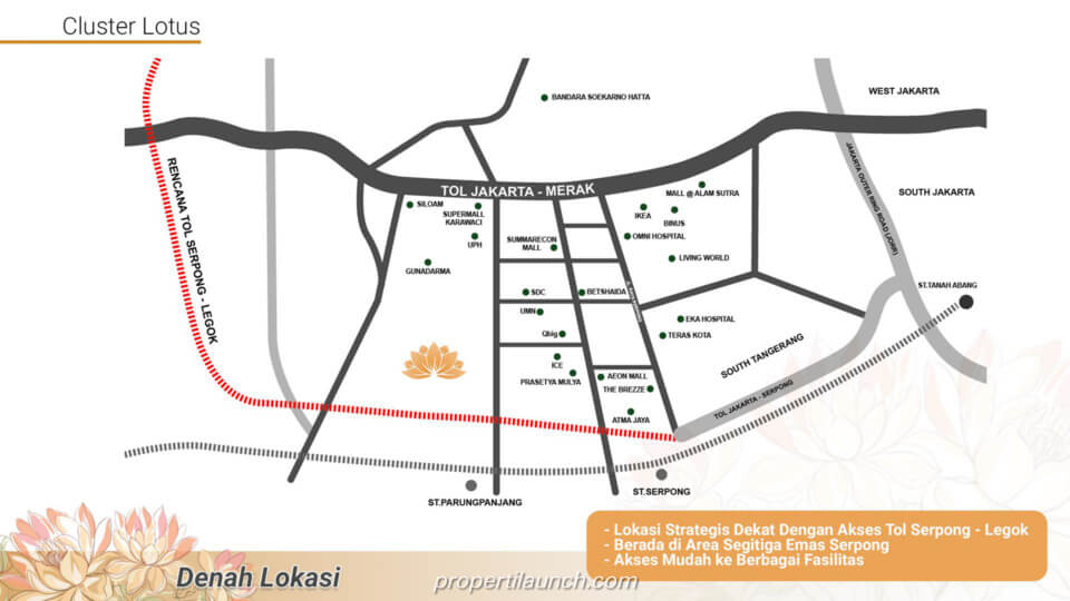 Peta Lokasi Cluster Lotus Tangerang