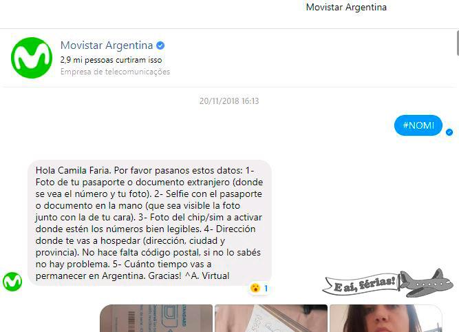Ativando o chip da Movistar Argentina pelo Facebook.