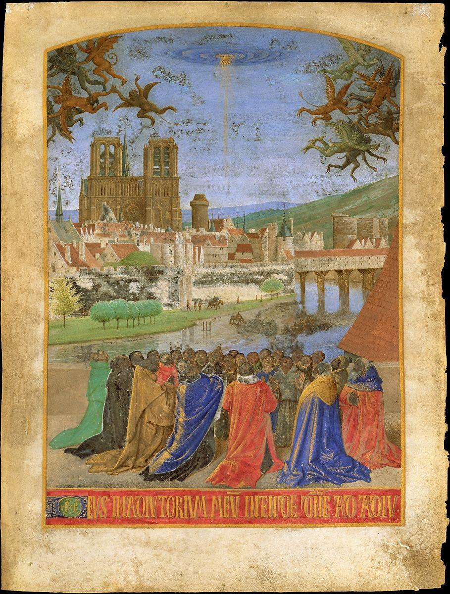 Жан Фуке Божья правая рука спускается, чтобы защитить верных от демонов Метрополитен-музей искусств