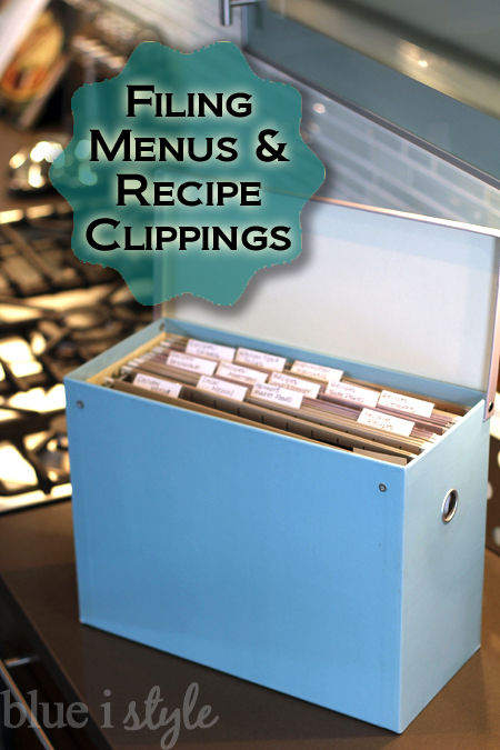 File Recipe Clippings and Menus