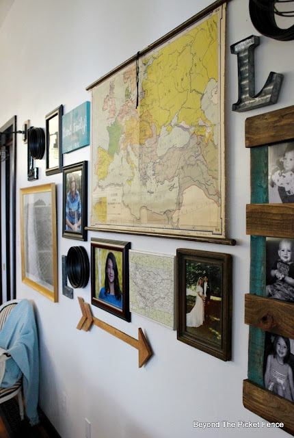 beyond the picket fence, gallery wall, vintage map, pallet frame, arrow, oil rubbed bronze light, lamp cage, vintage, http://bec4-beyondthepicketfence.blogspot.com/2015/10/gallery-wall-with-awesome-light-sconces.html