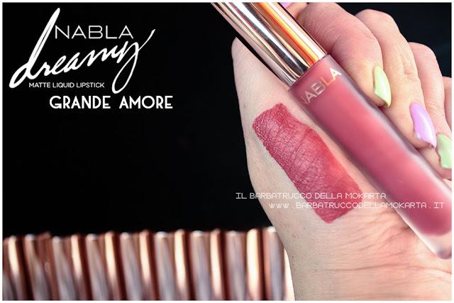 grande amore Dreamy Matte Liquid Lipstick rossetto liquido nabla cosmetics swatches