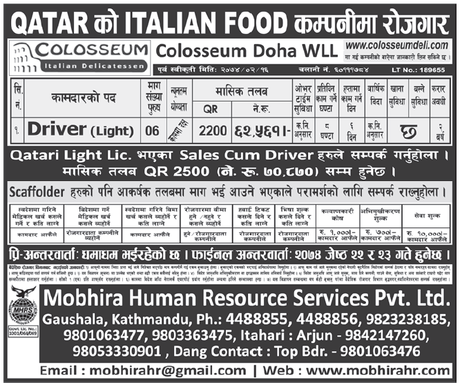 Jobs in Qatar for Nepali, Salary Rs 62,561