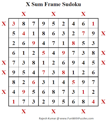 Answer of X Sum Frame Sudoku Puzzle (Daily Sudoku League #211)