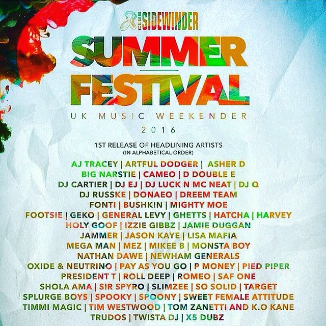 CATCH YOUR FAVOURITE GRIME ARTISTS @ SIDEWINDER SUMMER FESTIVAL 2016!