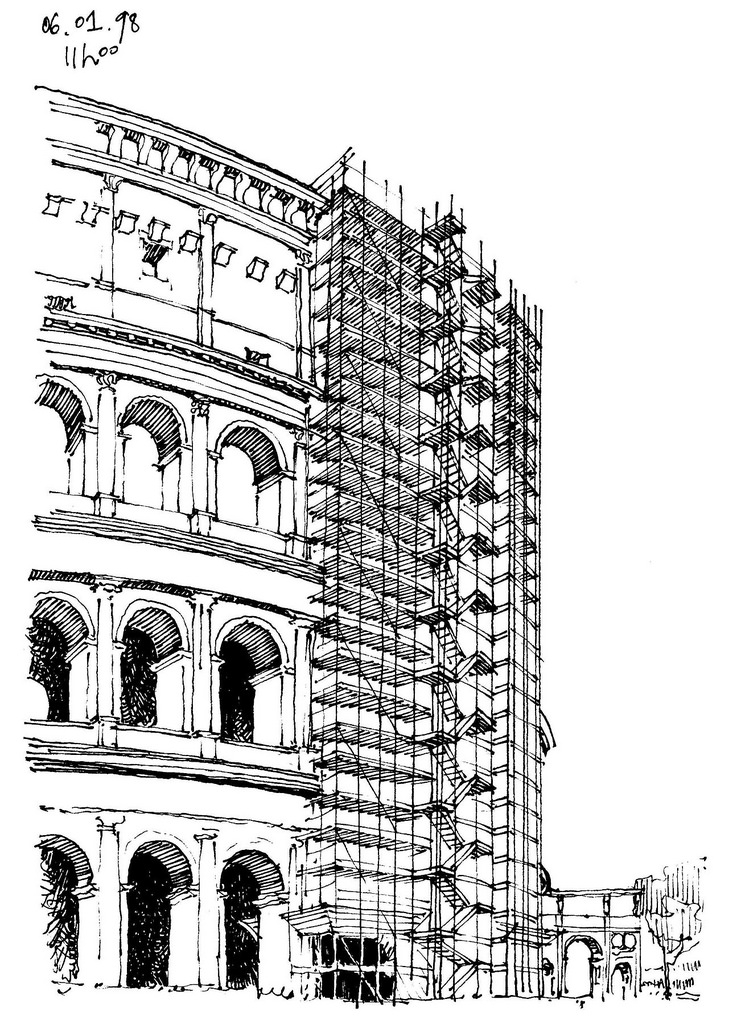 06-Rome-Colosseum-Gérard-Michel-Italian-Urban-Sketches-to-Capture-Architecture-in-a-moment-in-Time-www-designstack-co