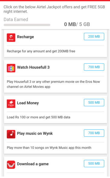 Airtel Free Jackpot Data Offer