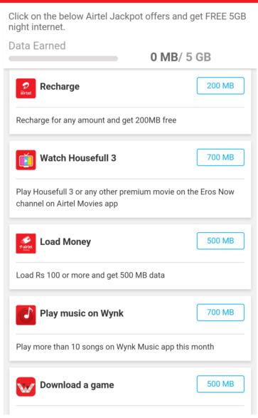 Airtel Free Jackpot Data Offer