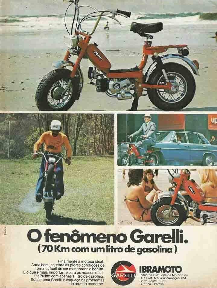 Propaganda dos anos 80 do ciclomotor Garelli que prometia um bom desempenho a baixo custo