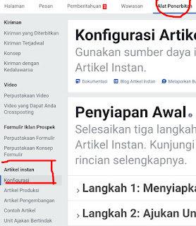 Alat Penerbitan instan article facebook
