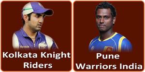 पुणे वॉरियर्स इंडिया बनाम कोलकाता नाईट राईडर्स 9 मई 2013 को है।